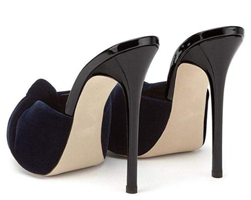 timeless design 303ac add12 zoccoli con fascia in velluto color nero e tacco fine da 11cm