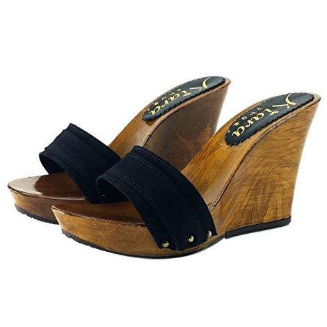 zoccolo zeppa 10cm nero kiara shoes 1