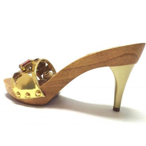 zoccoli in legno con fascia oro