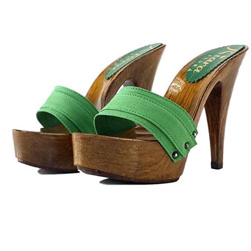 zoccoli verdi tacco 13 kiara shoes