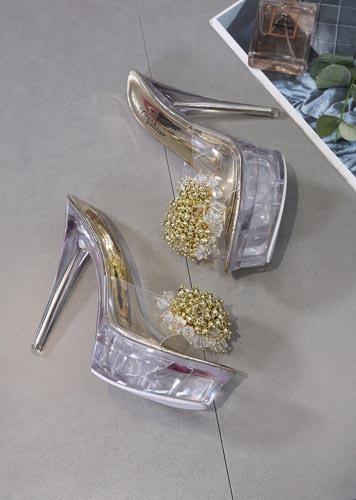 zoccoli trasparenti oro tacco 14