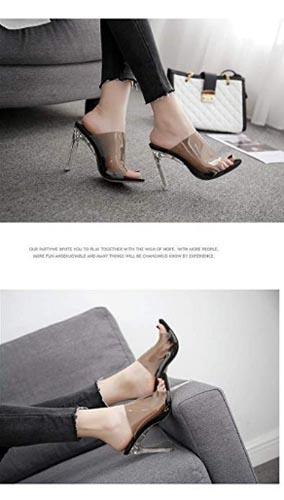 sandalo open toe trasparente scuro