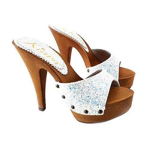 sexy mules con glitter bianchi