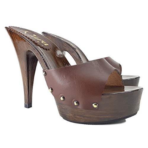 kiara shoes Zoccoli in Pelle Marrone