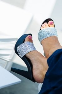 Mineo Mare Pietrasanta mules for a glam chic look