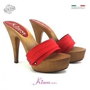 Zoccoli rossi con tacco 13 cm