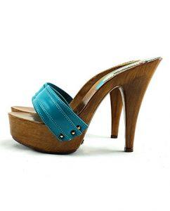 kiara shoes zoccoli turchese