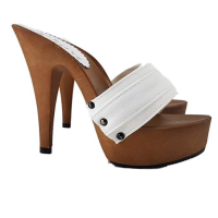 Kiara Shoes White mules with 13cm high Heels