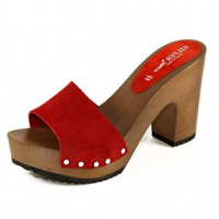 red clogs with 10cm high heel