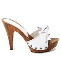 white 12cm heels mules by Kikkiline