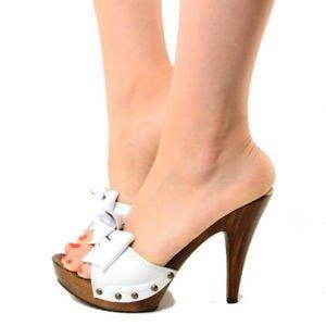 zoccoli bianchi tacco 12 Kikkiline