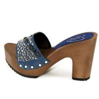 jeans and and glitter 10 centimeters high heels mules silfer shoes