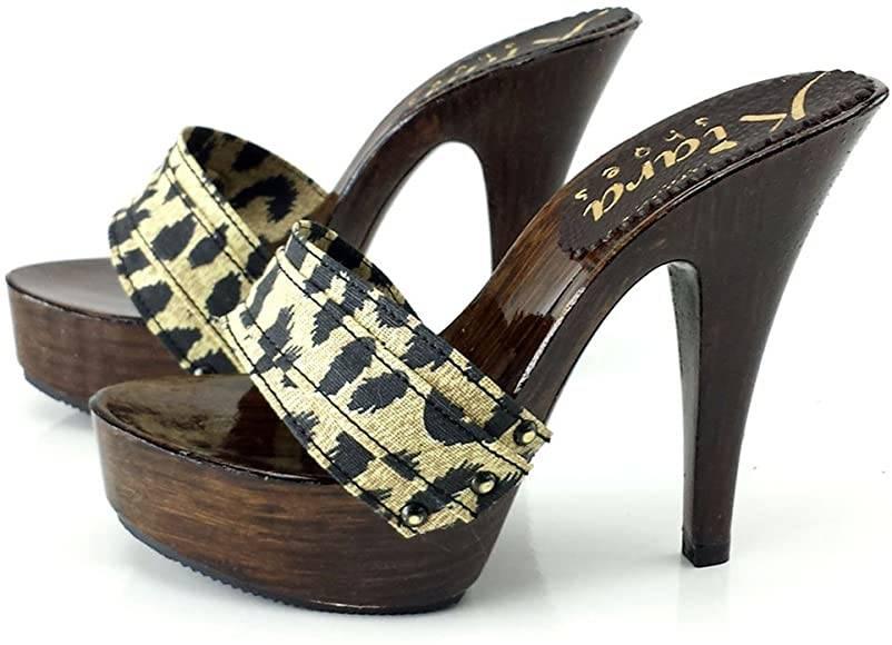 zoccolo leopardato tacco 13