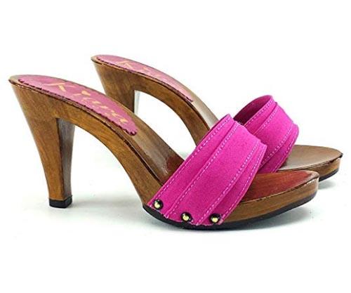 kiara shoes Fuchsia clog 9cm high heels b