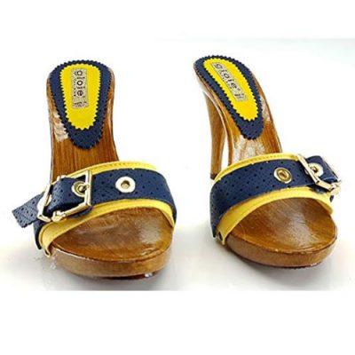 zoccoli estivi gialli tacco 12