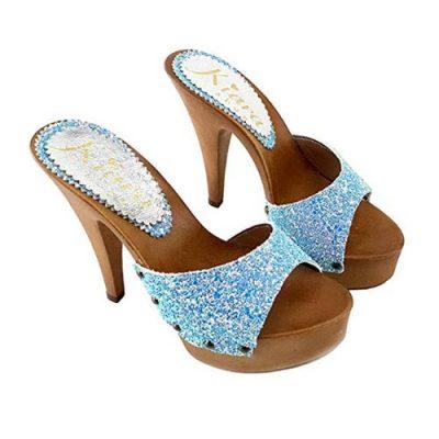 sexy mules con glitter azzurri