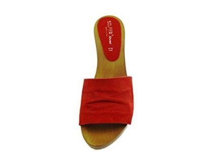 zoccoli rossi con tacco comodo