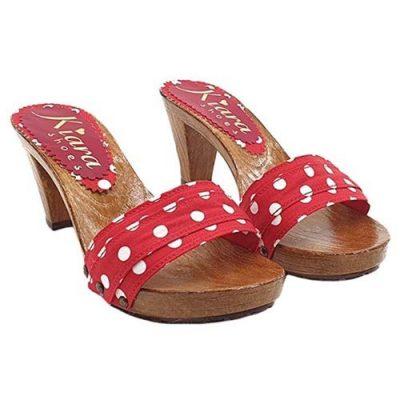 kiara shoes Zoccoli Rossi pois fatti a mano