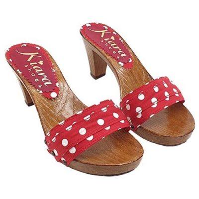 kiara shoes Zoccoli Rosso pois artigianali
