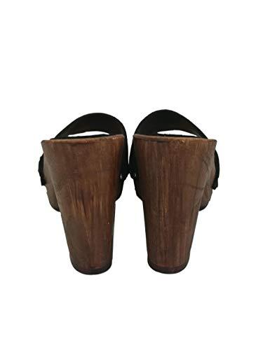 zoccoli in vero legno e vera pelle