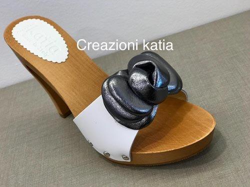 zoccolo Creazioni Katia tacco 10 in legno e pelle con fiocco 10