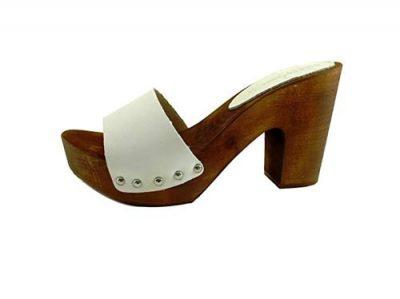 zoccolo bianco in legno e pelle silfer shoes