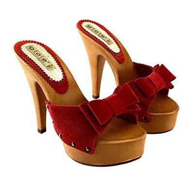 zoccoli rossi in pelle