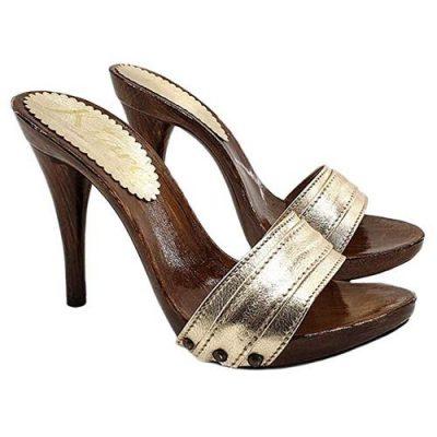 zoccoli color oro kiara shoes