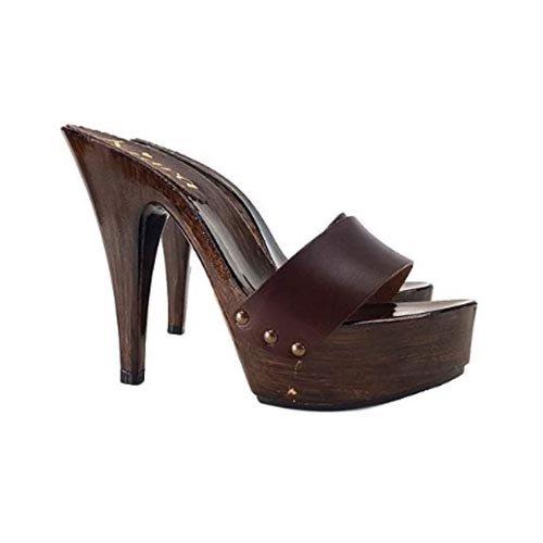 kiara shoes Zoccoli Donna ALTISSIMI Fascia in Pelle Marrone Tacco 13cm