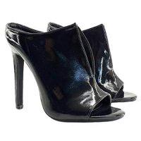 Sandalo in Vernice Nera Tacco 12