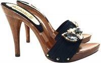 kiara shoes Mules con Base Effetto Legno & Fascia con Gioiello