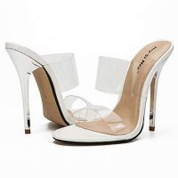 Transparent sandals with high heels