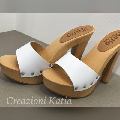 wooden and leather mules