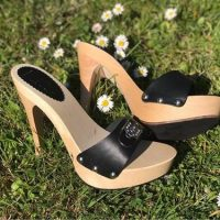 13cm high heels wooden mules