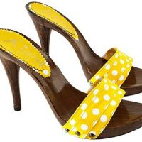 yellow pois mules