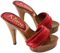 zoccoli velluto rosso