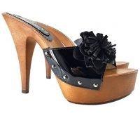 shiny black clogs