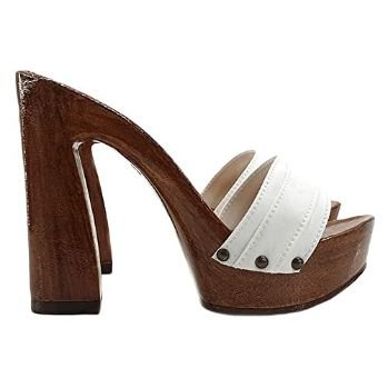 white mules with block heels