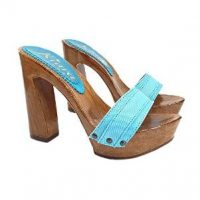 turquoise mules with block heels