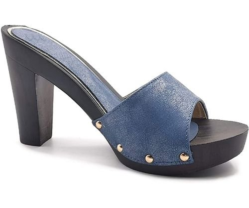 comfortable mules medium heel