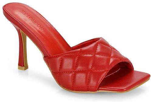 red quilted mules