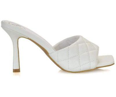sandalo trapuntato bianco con punta quadrata