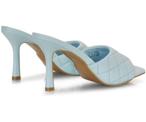 sandali trapuntati azzurri con tacco alto 9cm