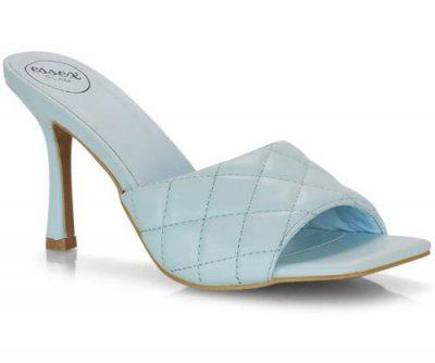 sandalo trapuntato azzurro con tacco da 9cm