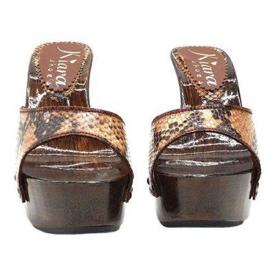 sandali da donna con fascia effetto pitone