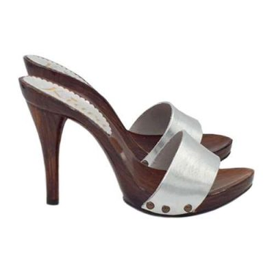 zoccoli da donna in pelle silver